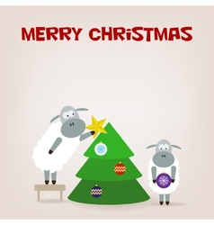 Cartoon funny sheep dresses up a fir-tree vector image