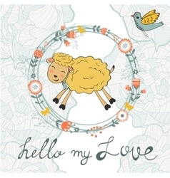 Cute jumping hand drawn sheep in floral wreath vector image