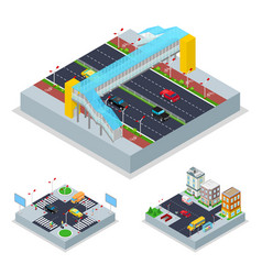 isometric urban road with crosswalk and buildings vector image