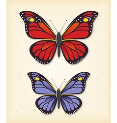 Summer butterfly set vector image vector image
