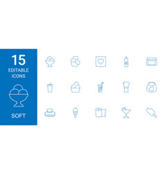 15 soft icons vector image