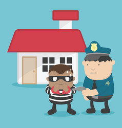a thief after steal a home police arrested vector image
