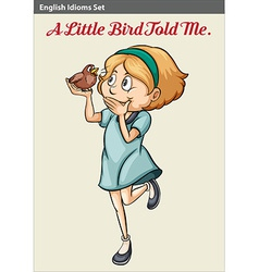 A young girl with a bird vector