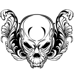 angry skull in floral ornament vector image