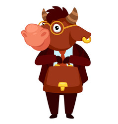 animal character in formal clothes bull worker vector image