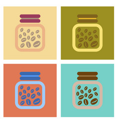 Assembly flat icons coffee jar of beans vector