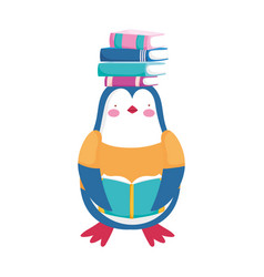Back to school penguin with books on head cartoon vector