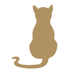 back view cat isolated feline silhouette vector image