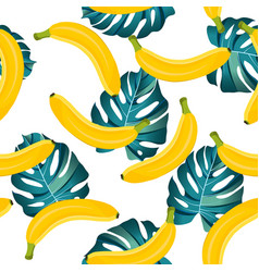 banana seamless pattern with tropical leaves on vector image