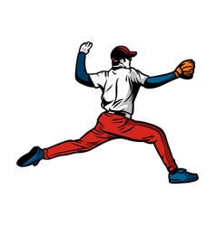 baseball player throw a ball color vector image