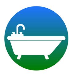 bathtub sign white icon in vector image