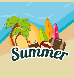 beach landscape with palms and set icons vector image