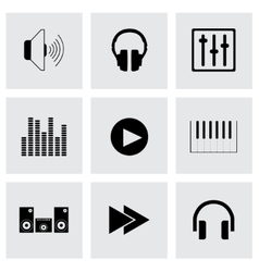 Black sound icons set vector