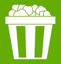 box of popcorn icon green vector image