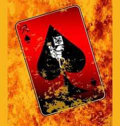 Burning ace spades vector