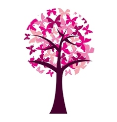butterfly silhouette pink isolated icon vector image