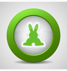 button with green back Easter bunny vector image