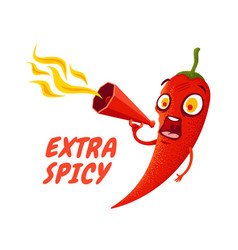 Cartoon chili pepper with red megaphone vector