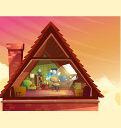 Cartoon of attic mansard vector