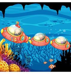 Children riding submarine underwater vector image