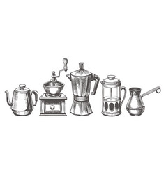 coffee maker sketch vector image