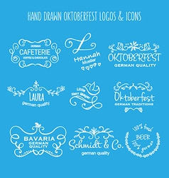 collection of Oktoberfest hand drawn logo vector image