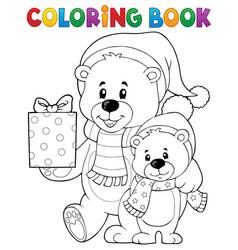 coloring book christmas bears theme 1 vector image
