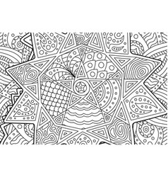 coloring book page with abstract pattern with star vector image