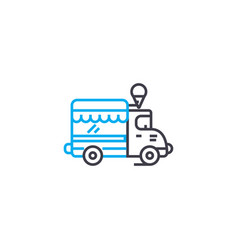 commercial vehicle thin line stroke icon vector image