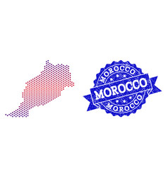 Composition of gradiented dotted map of morocco vector