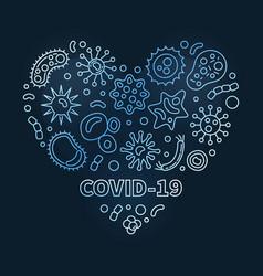 covid19-19 corona virus blue heart linear vector image