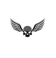 creative winged skull vintage wing logo design vector image