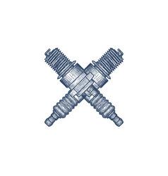 crossed spark plugs vintage engraved vector image