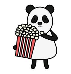 cute bear panda with pop corn character vector image