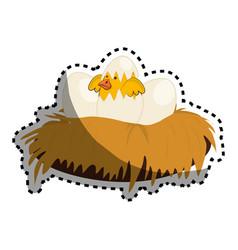 cute bird nest icon vector image