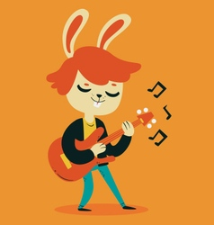 Cute Bunny Playing Guitar vector image