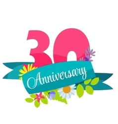 Cute Template 30 Years Anniversary Sign vector image