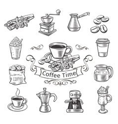 Decorative coffee icons set vector