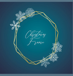 delicate christmas gold frame with vector image