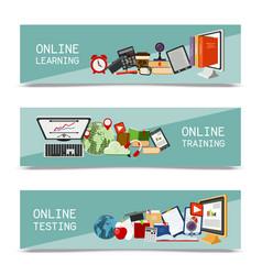 Distance education set banners online courses vector