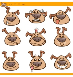 dog emoticons cartoon set vector image