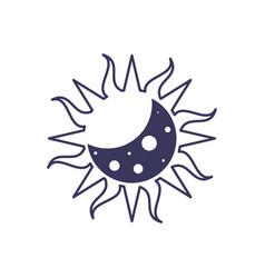 Eclipse moon sun line image vector
