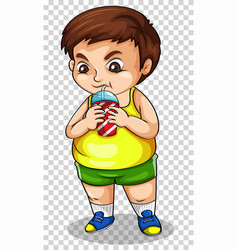 Fat boy drinking soda from cup vector