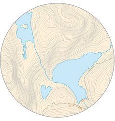 Fictional round topographic map with elevation vector