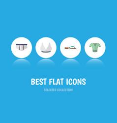 Flat icon garment set of beach sandal brasserie vector