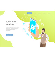 flat isometric concept of social media vector image