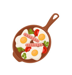 fried eggs with tomatoes sausages and parsley vector image