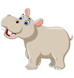 Funny hippo cartoon smiling vector