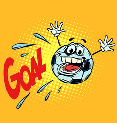goal happy fan football soccer ball funny vector image