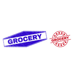 Grocery unclean seals in circle and hexagon forms vector